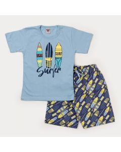 Conjunto Curto Infantil Masculino Blusa Azul Surf e Bermuda Marinho Estampada