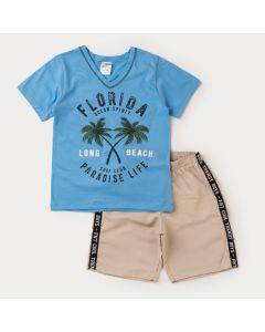 Conjunto Infantil Masculino Blusa Azul Coqueiros e Bermuda Marfim Básica