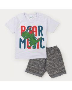 Conjunto Curto Infantil Masculino Blusa Branca Dino e Bermuda em Moletinho Cinza