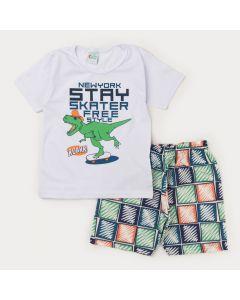 Conjunto de Verão Infantil Masculino Blusa Branca Dinossauro e Short Estampado