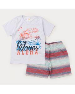 Conjunto Curto Infantil Masculino Blusa Branca Praia e Short Listrado