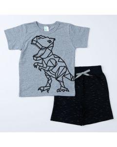 Conjunto Infantil Masculino Blusa Cinza Dino e Short Preto