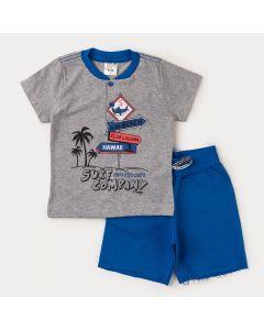 Conjunto Curto para Menino Camiseta Cinza Surf e Bermuda Azul