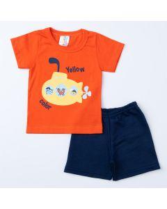 Conjunto de Verão para Bebê Menino Blusa Laranja Submarino e Short Marinho