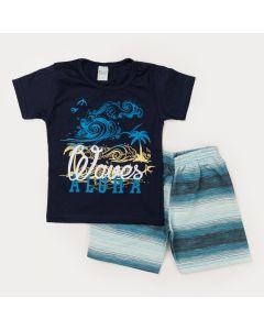 Conjunto Curto Infantil Masculino Blusa Marinho Praia e Short Listrado