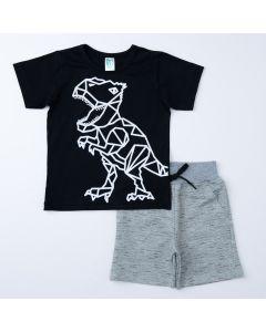 Conjunto Infantil Masculino Blusa Preta Dino e short Cinza