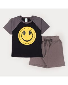 Conjunto Curto Infantil Masculino Blusa Preta Estampada e Short Cinza