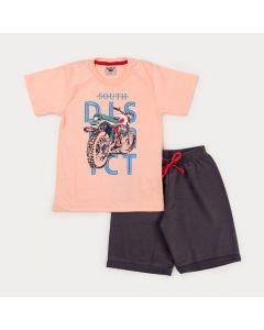 Conjunto Curto Infantil Masculino Blusa Salmão Moto e Bermuda Chumbo