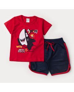 Conjunto de Verão menino Blusa Vermelha Tubarão e Short Moletinho Marinho