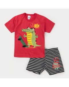 Conjunto Infantil Menino Blusa Vermelha Jacaré e Bermuda Moletinho Listrada