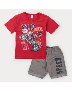 Conjunto de Verão Infantil Masculino Blusa Vermelha Moto e Bermuda Cinza