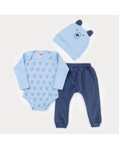 Conjunto de Frio Menino Body Azul Urso com Touca Azul e Calça Marinho