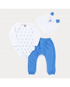 Conjunto de Frio Menino Body Branco Urso com Touca Branca e Calça Azul
