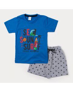 Conjunto Infantil Masculino Camiseta Azul Surf e Bermuda Cinza Estampada