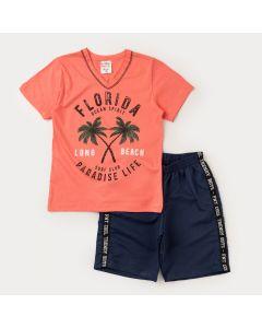 Conjunto Infantil Masculino Blusa Salmão Coqueiros e Bermuda Marinho Básica