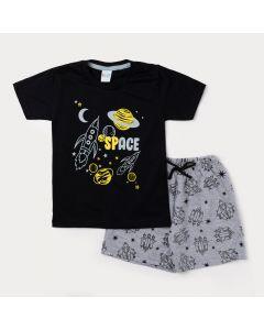 Conjunto Curto Camiseta Masculina Preta Foguete e Bermuda Cinza Estampada