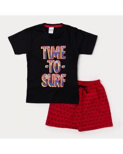Conjunto Bermuda Infantil Vermelha Estampada e Camiseta Preta Surf