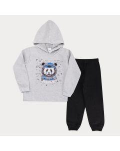 Conjunto em Moletom Casaco Mescla com Capuz Urso e Calça Preta para Menino