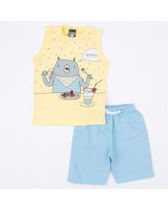 Conjunto Curto Menino Regata Amarela Urso e Short Azul