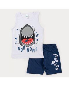 Conjunto de Verão Infantil Masculino Regata Branca Tubarão e Bermuda Marinho