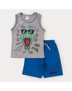 Conjunto Verão Regata Cinza Dinossauro Bermuda Azul Infantil Masculino