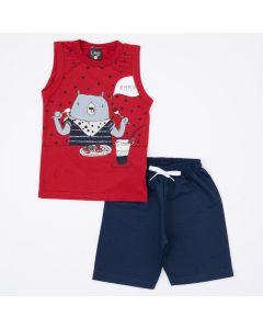 Conjunto de Verão Menino Regata Vermelha Urso e Short Marinho