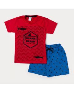 Conjunto de Verão para Menino Camiseta Vermelha e Bermuda Azul Estampa de Tubarão