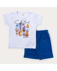 Conjunto de Roupa Infantil Masculino Camiseta Branca Surf e Bermuda Azul