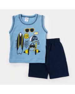 Conjunto de Roupa Masculina Infantil Bermuda Azul Marinho e Regata Azul Surf