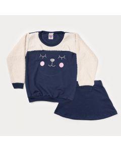 Conjunto Infantil de Inverno Feminino Blusa Marinho de Pelo Estampada e Saia Marinho