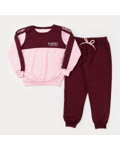 Conjunto em Moletinho para Menina Casaco Rosa com Detalhes e Calça Bordô