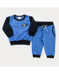 Conjunto de Frio Bebê Menino Casaco Azul e Calça com Bolso