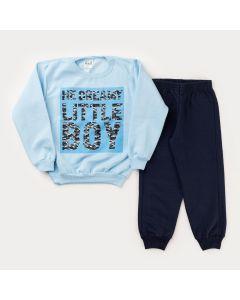 Conjunto de Inverno para Menino Casaco Azul Militar e Calça Marinho Básica