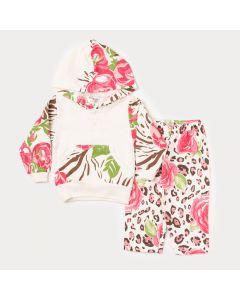 Conjunto de Moletom Bebê Menina Blusa Marfim e Calça Estampada de Flor Rosa