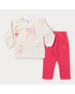 Conjunto de Inverno Bebê Menina Casaco Marfim Fada e Calça Rosa