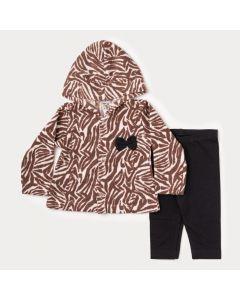 Conjunto de Inverno para Bebê Menina Casaco Marrom de Oncinha e Legging Preta