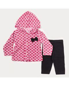 Conjunto de Inverno para Bebê Menina Casaco Rosa de Oncinha e Legging Preta