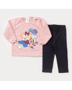 Conjunto de Moletom para Bebê Menina Casaco Rosa Urso e Caça Preta