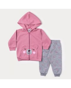 Conjunto de Frio Bebê Menina Calça Mescla e Jaqueta Rosa de Ursinho