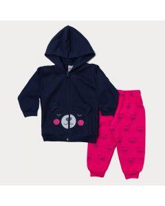 Conjunto de Frio Bebê Menina Calça Pink e Jaqueta Marinho de Ursinho