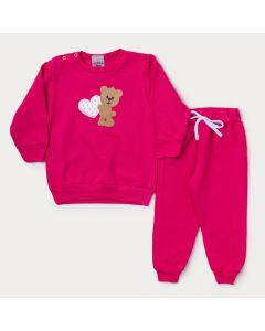 Conjunto de Moletom Bebê Menina Pink de Ursinho
