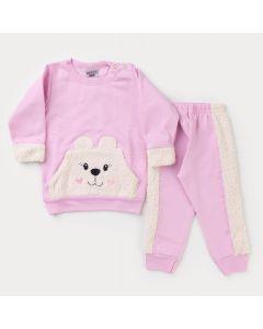 Conjunto de Moletom Bebê Menina Rosa Urso com Pelinho