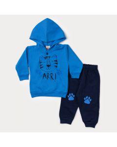Conjunto de Inverno Bebê Menino Casaco Azul Tigre e Calça Marinho