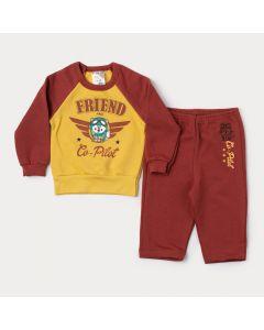 Conjunto Moletom Bebê Menino Blusa Amarela Estampada e Calça Marrom