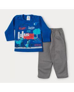 Conjunto de Moletom Bebê Menino Casaco Azul Dinossauro e Calça Cinza