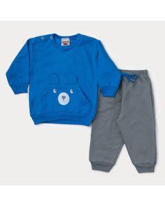 Conjunto de Frio Bebê Menino Casaco Azul Urso e Calça Cinza