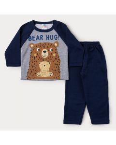 Conjunto de Moletom Bebê Menino Casaco Cinza Urso e Calça Marinho