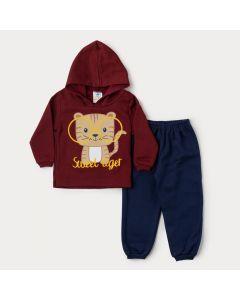 Conjunto Bebê Menino em Moletom Casaco Vermelho com Capuz Tigre e Calça Marinho