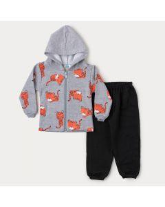 Conjunto de Inverno Bebê Menino Jaqueta com Capuz Cinza Tigre e Calça Preta