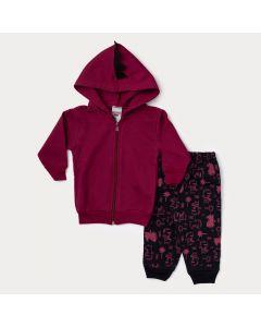 Conjunto Inverno Bebê Menino Vermelho Dinossauro e Calça Estampada Preta